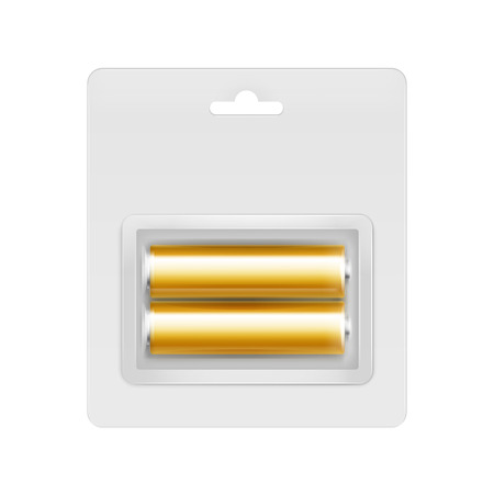 Vector Golden Yellow Glossy Alkaline AA Batteries in Transparent Blister Packed for branding Close up Isolated on White Background