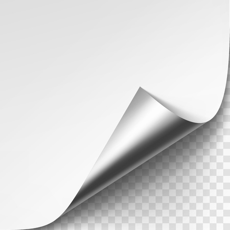 Vector Curled Silver Metalic Corner of White Paper with Shadow Mock up Close up Isolated on Transparent Background