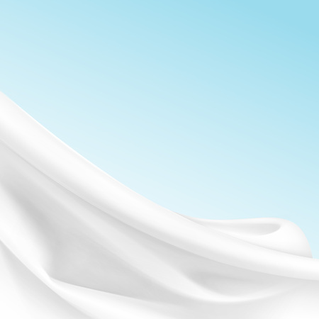 Vector White Satin Silky Cloth Fabric Textile Drape with Crease Wavy Folds. Abstract Background