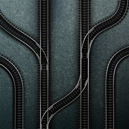 Illustration pour Empty railway tracks concept vector illustration - image libre de droit