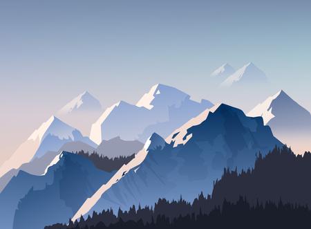 Illustration pour Vector illustration of mountain range, and peaks with morning light shrouded in fog, landscape wallpaper - image libre de droit