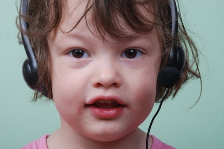 Girl listening to with headphones
