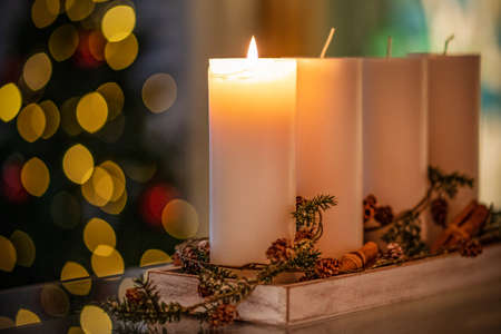 Photo for Christmas decoration candle for advent season four burning candles burning. - Royalty Free Image