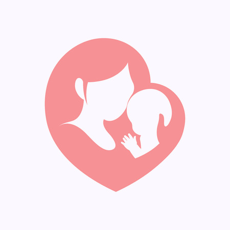 Illustration for Mother holding a little baby with her arm in pink heart shaped silhouette - Royalty Free Image