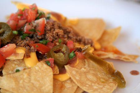A macro shot yummy nachos.