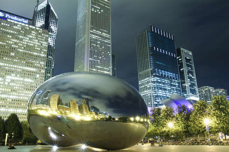 Chicago, USA - July 28, 2010: Image of Chicago bean at night formally named the Cloud Gate. Photographed at the millennium park in Chicago.