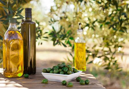 Photo pour still life with green olives and oil on table in olive grove - image libre de droit