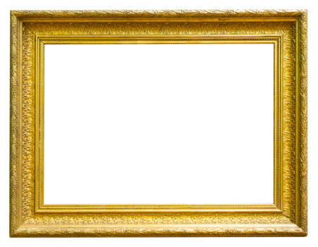 Photo pour retro golden rectangular frame for photography on isolated background - image libre de droit