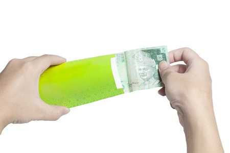Put Money into Green Packet isolated on white background