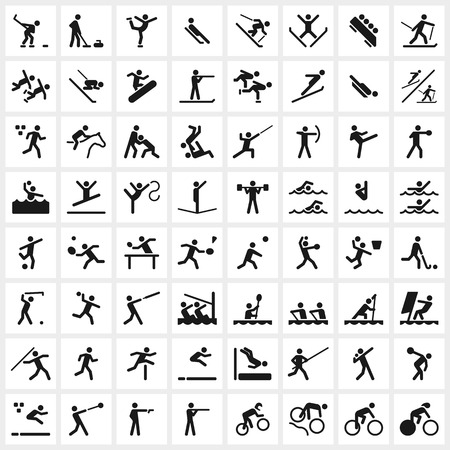 Large set of vector sports symbols including all the major winter and summer sports. File format is EPS8.
