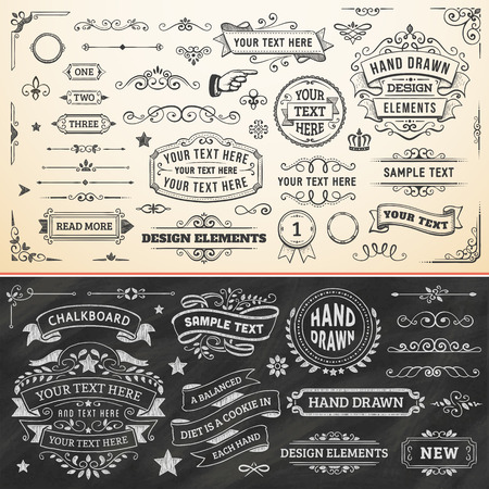 Illustration pour Large set of hand drawn design elements. Vector format. - image libre de droit