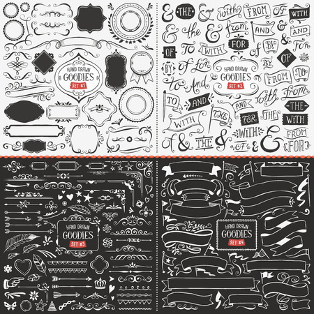 Very large collection of hand drawn vector design elements such as corners, ribbons, banners, swirls, catchwords, ampersands and flags.