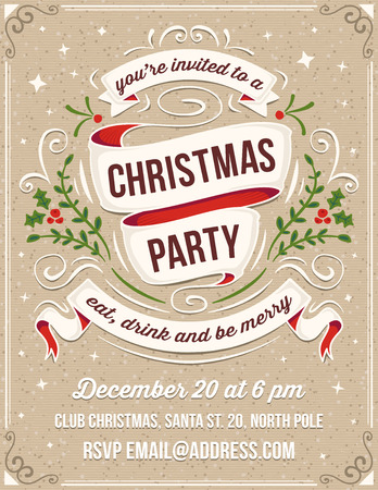 Illustration pour Hand drawn christmas party invitation. Only solid fills used. No transparency. The white example text is on a separate layer for quick removal. - image libre de droit