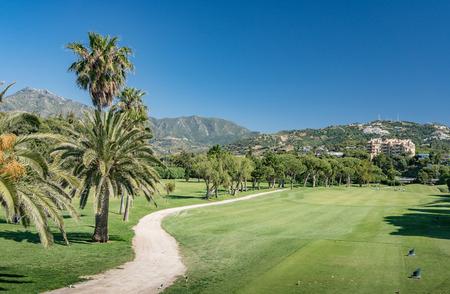 Golf course in Marbella, costa del Sol, Spain with La Concha Mountain in the background