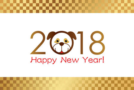 2018 A New Years card template, vector illustration.