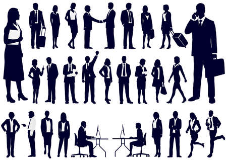 Illustration for Set + of + Business + people + in + action + silhouettes% 2C + vector + illustration. - Royalty Free Image