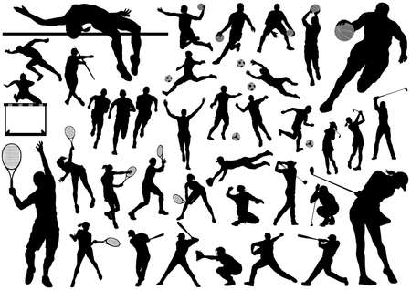 Illustration pour Sports silhouette vector set isolated on a white background. - image libre de droit