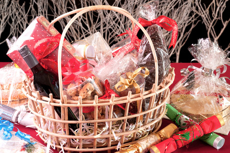 Christmas hamper basket close-up