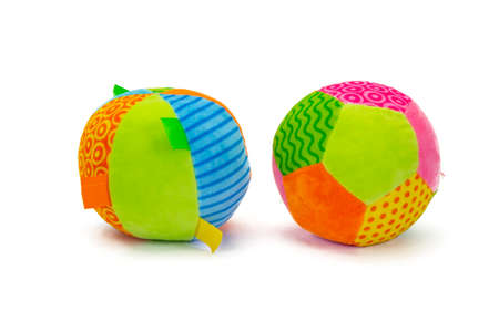 Photo pour Colorful stuffed balls with shadow sitting on white background. - image libre de droit