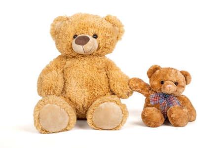Foto de Teddy bear with little bear in on white background. - Imagen libre de derechos