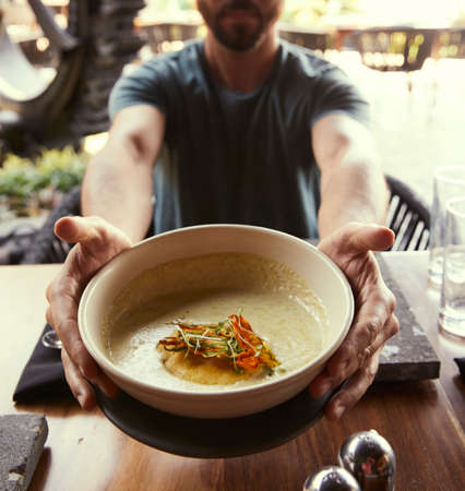 Photo pour Delicious and elegant gourmet saucers on wooden table. Delicious food - image libre de droit