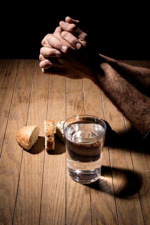 Photo pour Fasting for bread and water to strengthen the spirit - image libre de droit