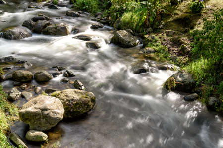 wild river with rapids in the mountains in Costa Rica