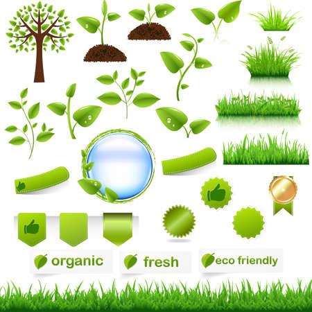 Green Eco Set, Isolated On White Background, Vector Illustration