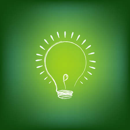 Green Energy Concept, On Green Background, Vector Illustration