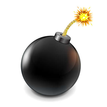Black Bomb, Isolated On White Background, Vector Illustration