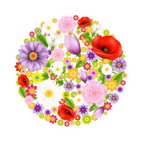 Illustration pour Sphere From Flowers, Postcard With Color Flowers With Gradient Mesh, Vector Illustration - image libre de droit