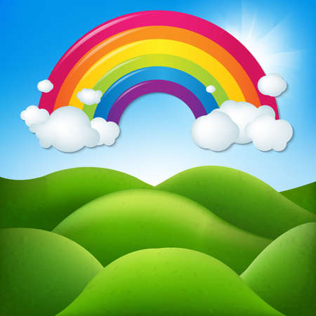 Fantastic Landscape With Rainbow With Gradient Mesh, Vector Illustration