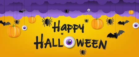 Illustration pour Happy Halloween Text With Orange Background - image libre de droit