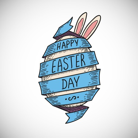 blue color spiral ribbon and Easter egg with rabbit ears
