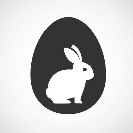 Ilustración de rabbit inside a egg, isolated vector illustration on a white background. - Imagen libre de derechos