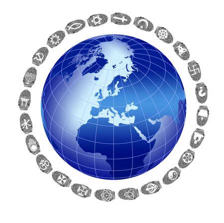Religions Around the World and fingerprint