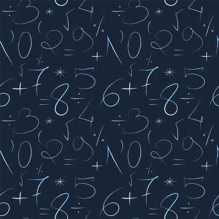 Photo pour Mathematical blue background. Hand drawn by a thin line numbers and mathematical signs and symbols. Seamless vector pattern - image libre de droit