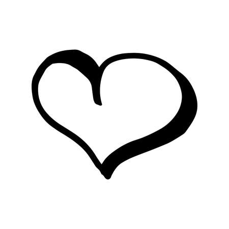 Photo pour Hand drawn one heart. Simple doodle style icon. Single, careless vector heart. Black isolated on a white background - image libre de droit