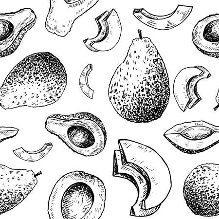 Illustration for Avocado sketch pattern. Hand drawn black avocado on transparent background. Seamless vector backdrop. - Royalty Free Image