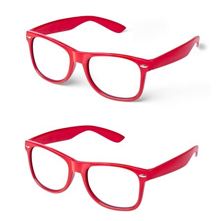 Perspective view of red glasses isolated and with shadow