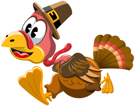 Cartoon turkey with pilgrim hat in a hurry isolated