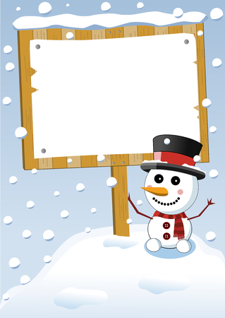 Little cute smiling snowman with scarf and top hat holding blank sign post or under snowfall
