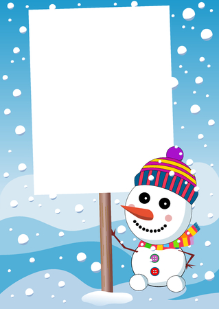 Little cute smiling snowman with scarf and woolen cap holding blank sign post or under snowfall