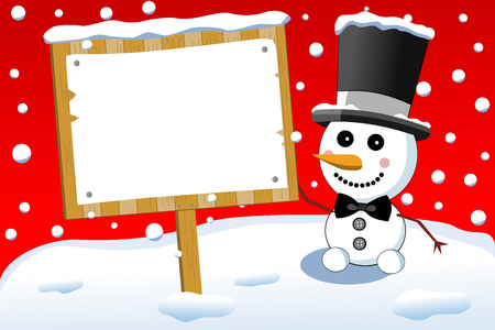Little smiling snowman with bow tie and top hat holding blank sign post or under snowfall