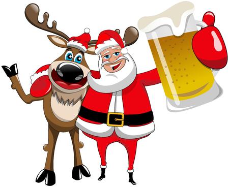 Illustration pour Reindeer Christmas Santa Claus Hug Beer Mug - image libre de droit