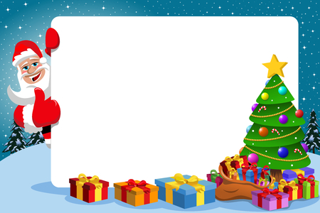 Santa claus with thumb up behind blank horizontal frame with decorated xmas tree full of gift boxes