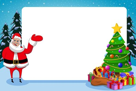 Santa claus presenting blank horizontal frame with decorated xmas tree full of gift boxes
