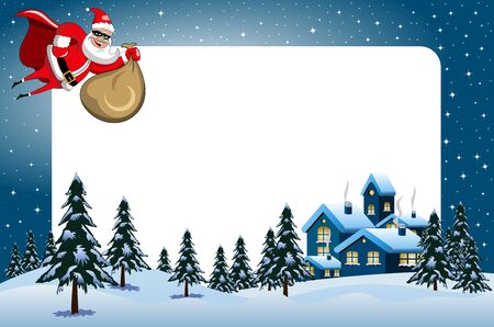 Xmas frame featuring santa Claus superhero flying at xmas night over snowy landscape
