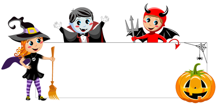 Blank Halloween Banner with kids in costume isolated
