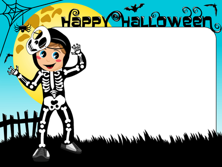 Halloween photo or picture frame or border featuring kid in skeleton costume